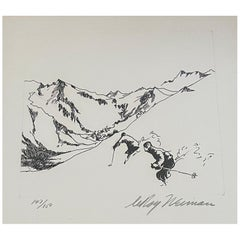 """Skiing Suite Etching """"Village in the Valley"""" by Leroy Neiman"""