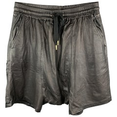 SKINGRAFT Size L Black Leather Drop-Crotch Shorts