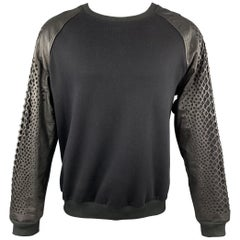 SKINGRAFT Size M Black Cotton Laser Cut Leather Raglan Sleeve Sweatshirt