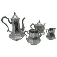 Skinner & Co. Art Nouveau Engraved Silver Plated English Tea Service, circa 1890