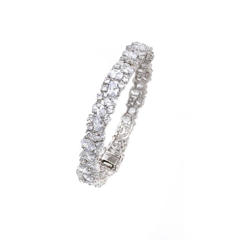 Contemporary Skinny All-around Encrusted Faux Diamond Sterling Silver Bracelet For Sale