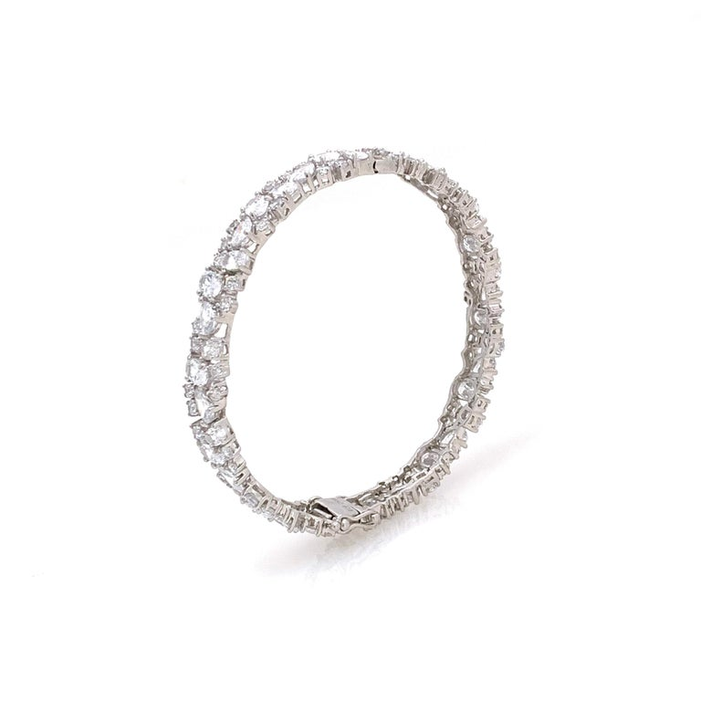 Skinny All-around Encrusted Faux Diamond Sterling Silver Bracelet In New Condition For Sale In Los Angeles, CA