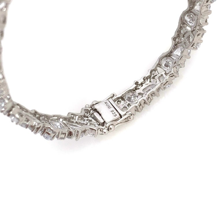 Women's Skinny All-around Encrusted Faux Diamond Sterling Silver Bracelet For Sale
