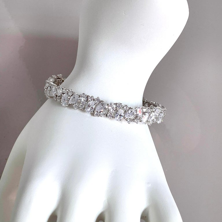 Skinny All-around Encrusted Faux Diamond Sterling Silver Bracelet For Sale 1