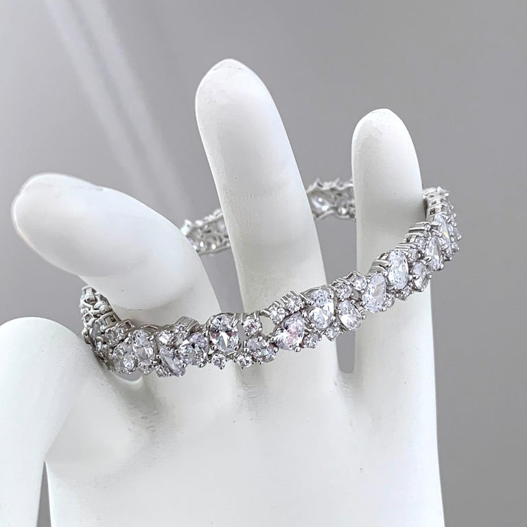 Skinny All-around Encrusted Faux Diamond Sterling Silver Bracelet For Sale 2