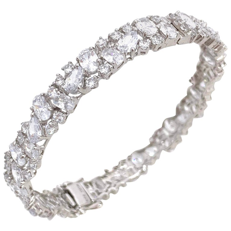 Skinny All-around Encrusted Faux Diamond Sterling Silver Bracelet For Sale