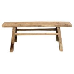 Skinny Bench Vintage Antique Elm Wood Bench