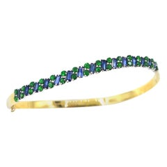 Skinny Blue Sapphire Green Tsavorite 18 Karat Gold Clamper Bangle