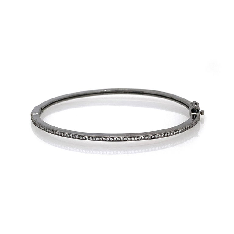 Contemporary Skinny Micropave Simulated Diamond Blacken Sterling Silver Bangle Bracelet For Sale