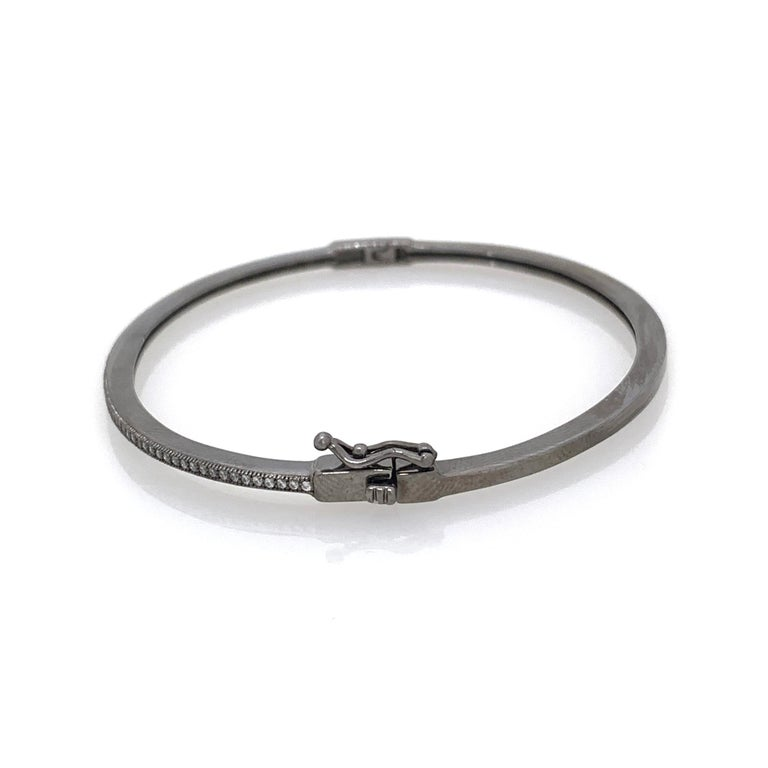 Skinny Micropave Simulated Diamond Blacken Sterling Silver Bangle Bracelet In New Condition For Sale In Los Angeles, CA