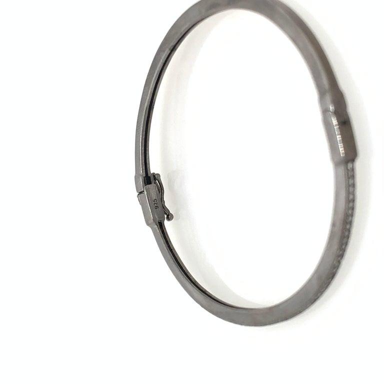 Women's Skinny Micropave Simulated Diamond Blacken Sterling Silver Bangle Bracelet For Sale