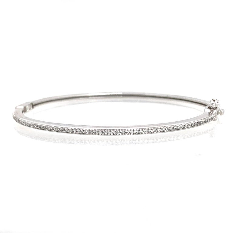 Skinny Micropave Simulated Diamond Sterling Silver Bangle Bracelet In New Condition For Sale In Los Angeles, CA