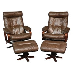 Skippers Mobler Pair of Leather Signed Danish Modern Reclining Chairs W Ottomans