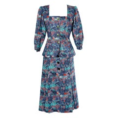 Skirt-suit with flower print Yves Saint Laurent Rive Gauche