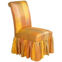 Skirted Side Chair with Metallic Iridescent Stripes