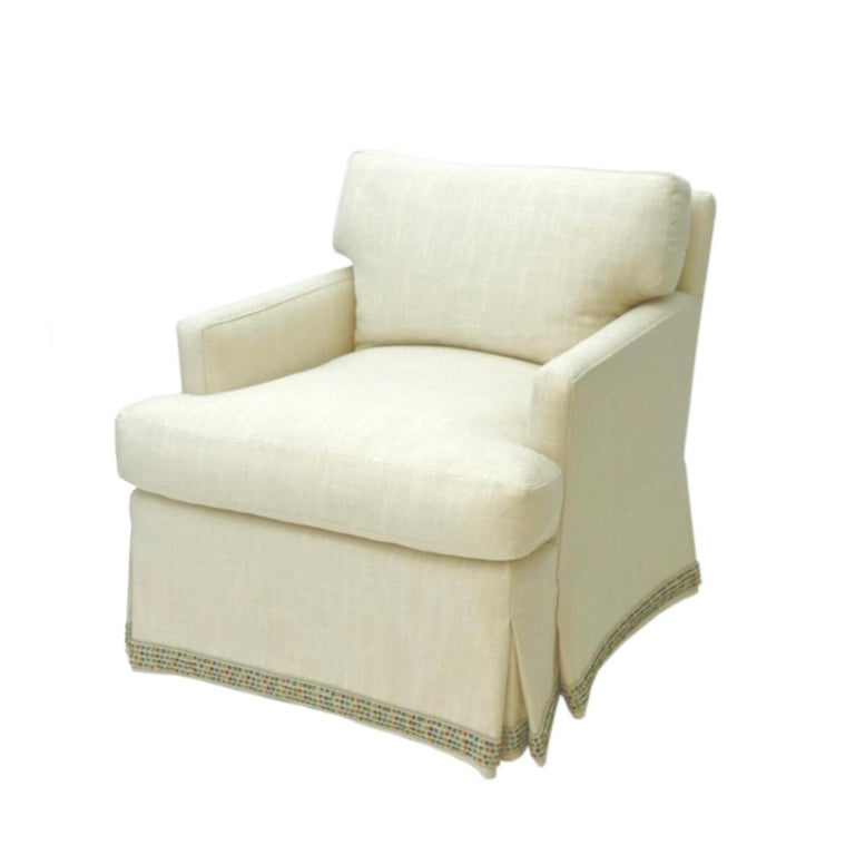 American Skirted Upholstered Club Chair For Sale