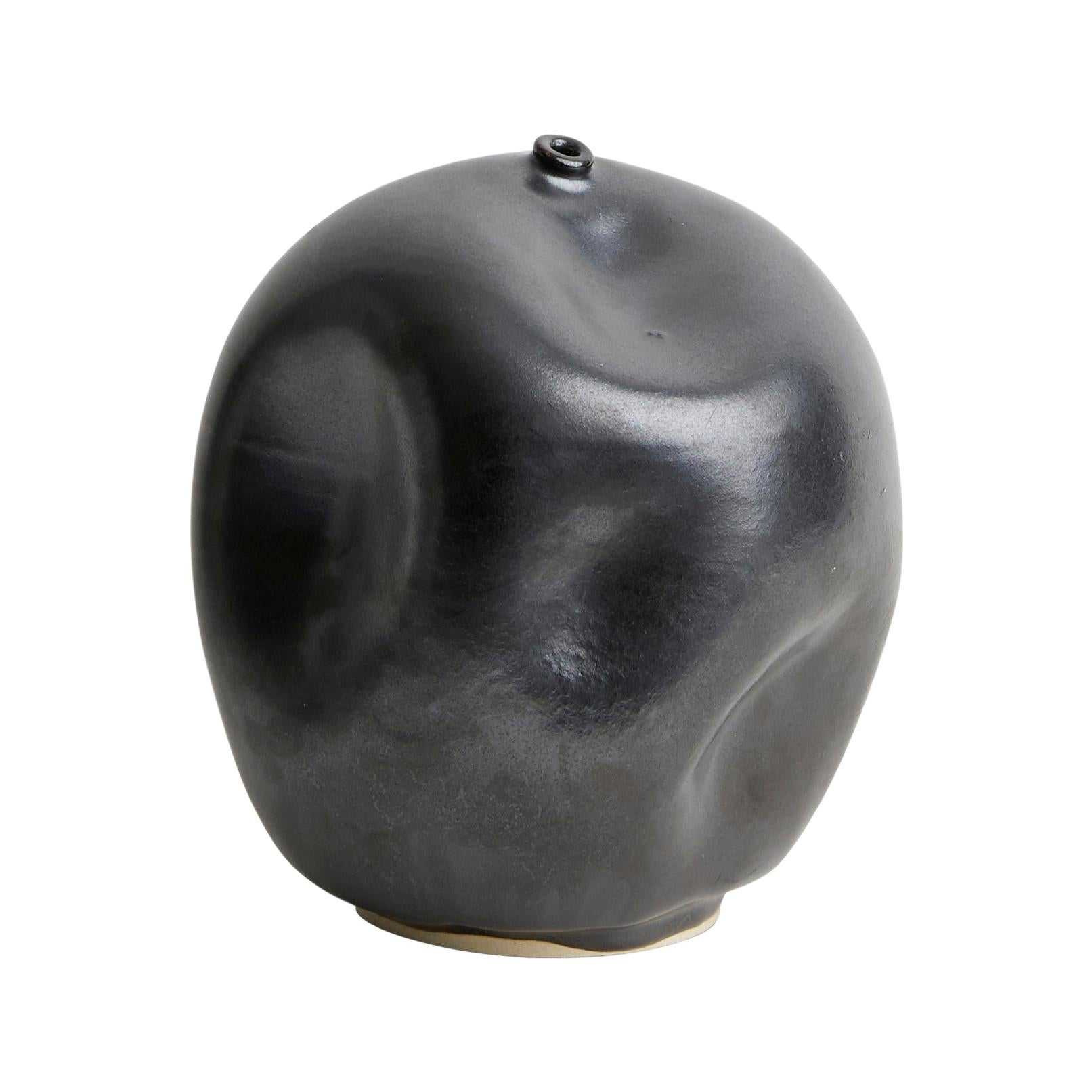 Skoby Joe Black Handmade Ceramic Vessel Wabi Sabi Mid-Century Modern Sculpture