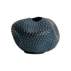 Skoby Joe Blue Small Textured Carved Ceramic Vase Wabi Sabi Mid-Century Modern