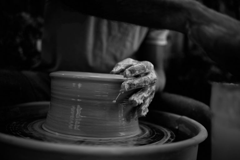 Glazed Skoby Joe Bronze Handmade Ceramic Vase Wabi Sabi/ Mid-Century Modern Sculpture For Sale