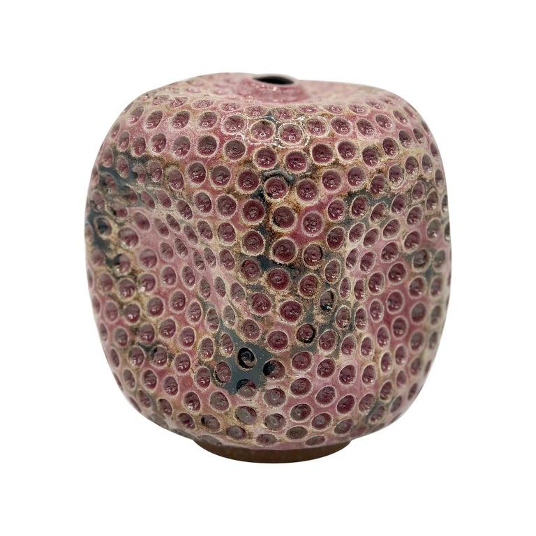 Skoby Joe Colored Contemporary Hand Carved Ceramic Vase, Antique Pink/ Burgundy For Sale