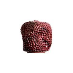 Skoby Joe Colored Contemporary Hand Carved Ceramic Vase, Antique Pink/ Burgundy