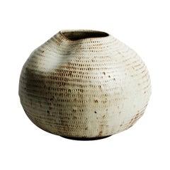 Skoby Joe Cream Handmade Ceramic Vessel Wabi Sabi Mid-Century Modern Sculpture