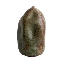 Skoby Joe Tall Green /Bronze Handmade Ceramic Vase Wabi Sabi/ Interior Sculpture