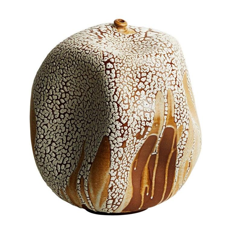 Skoby Joe Textured Ceramic Vessel Wabi Sabi Mid-Century Modern Sculpture For Sale