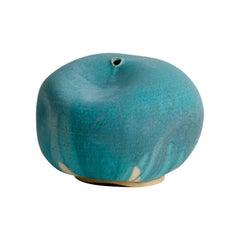 Skoby Joe Turquoise Small Ceramic Vase Wabi Sabi Mid-Century Modern