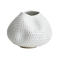 Skoby Joe White Hand Carved Textured Ceramic Vase Wabi Sabi Mid-Century Modern