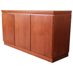 Skovby Danish Modern Teak Sideboard Credenza or Bar Cabinet, Newly Restored
