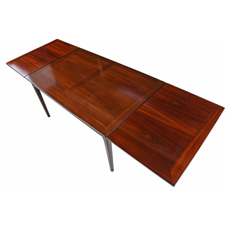 Gorgeous Scandinavian Modern Rosewood Extendable Draw Leaf Dining Table Made By Skovby Of Denmark