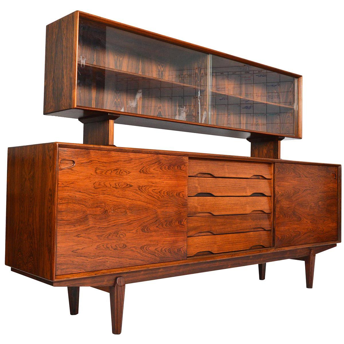 Skovby Model 65 Rosewood Credenza With Hutch For Sale