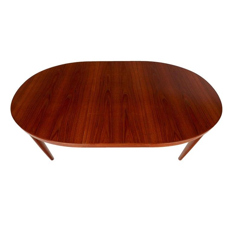 Skovmand Andersen Vintage Danish Teak Oval Dining Table With Extension Leaf For Sale At 1stdibs