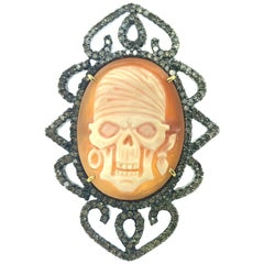 Skull Cameo, 1.42 Carat Diamond Ring in Oxidized Sterling Silver, 18 Karat Gold