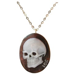 Skull Cameo Pendant Necklace in 18 Carat Yellow Gold from Iosselliani