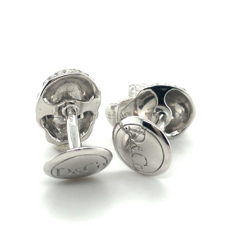 Skull Cufflinks with Diamonds in 18 Karat White Gold For Sale 5