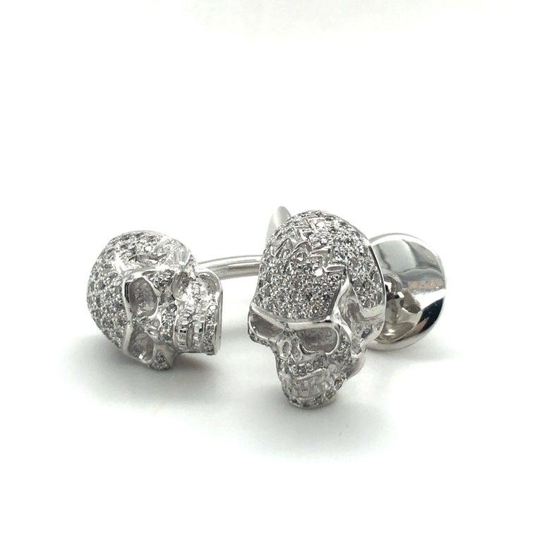 Skull Cufflinks with Diamonds in 18 Karat White Gold For Sale 6