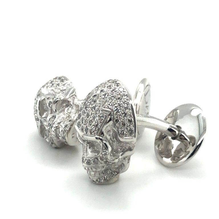 Skull Cufflinks with Diamonds in 18 Karat White Gold For Sale 1