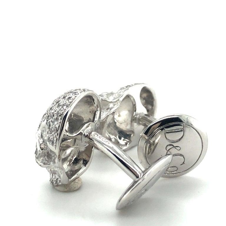 Skull Cufflinks with Diamonds in 18 Karat White Gold For Sale 2