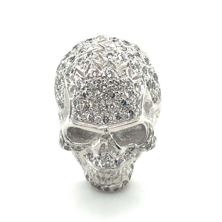 Skull Cufflinks with Diamonds in 18 Karat White Gold For Sale 3