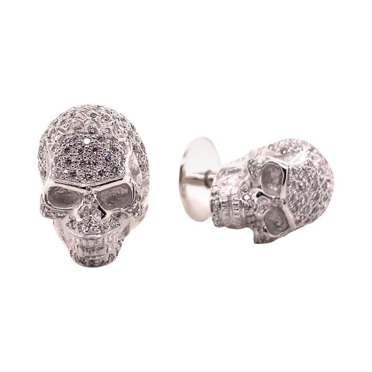 Skull Cufflinks with Diamonds in 18 Karat White Gold For Sale