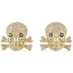 Skull Diamond 18 Karat Gold Earrings