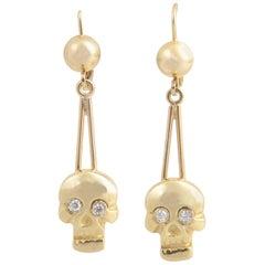 Skull Diamond and Gold Dangle Earrings