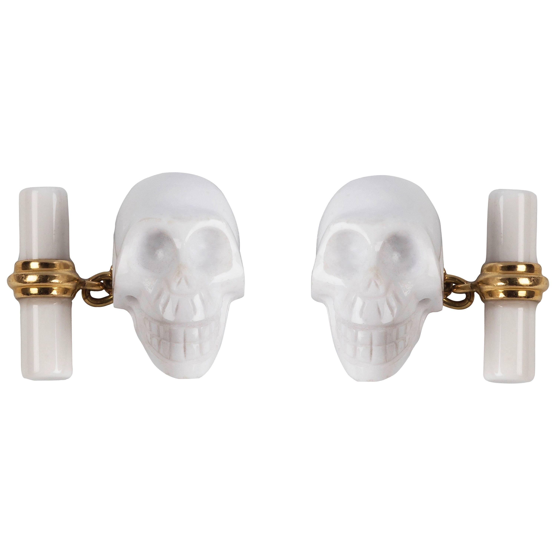 18 Karat Yellow Gold Skull White Agate Cufflinks
