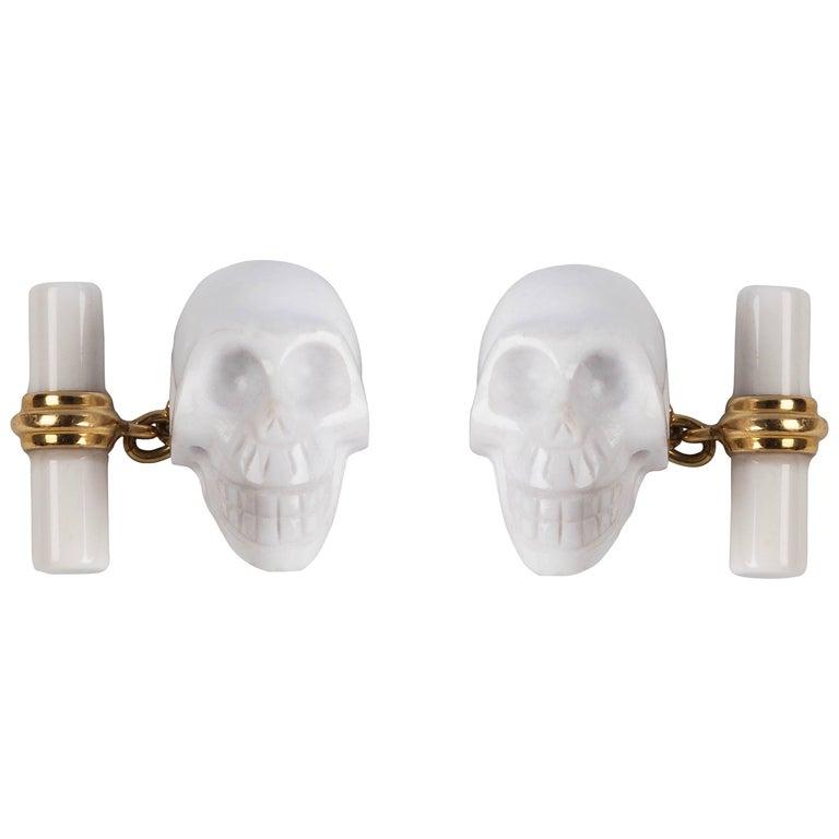 18 Karat Yellow Gold Skull White Agate Cufflinks  For Sale