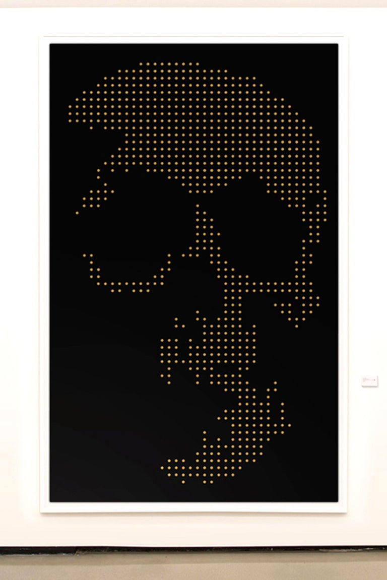 Panel skull bullets 9mm. Black plexiglass, with 862 bullets 9 mm. With American wooden box panel frame. Numbered and limited edition N° 6/12. Exceptional piece made in 2018.