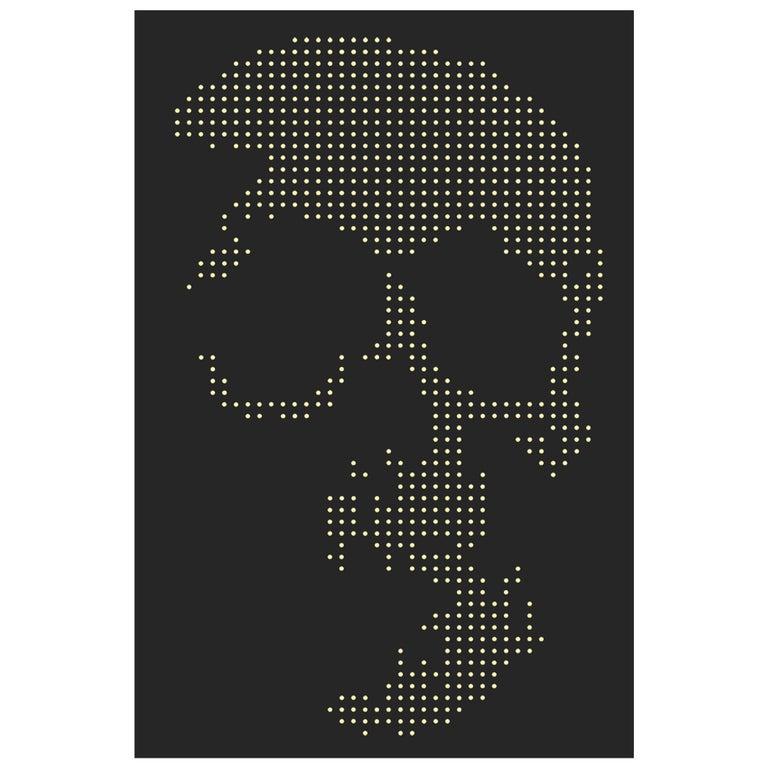 Skull Gun Bullets Panel in Black Plexiglass Exceptional Piece, 2018 For Sale