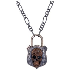 Skull Padlock Necklace with Black Onyx, Mixed Metal, and Handmade Neck Chain