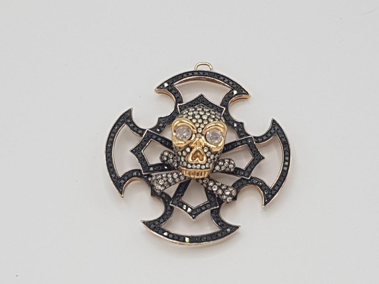 Brilliant Cut Skull Pendant Yellow and Black Gold with Diamonds For Sale
